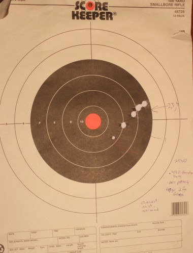These targets are from a session with a used .45 cal Ohio style rifle I won in a raffle. The results tell me there is much work to be done before this rifle is ready to hunt. The odd hole in the grain target is from a 270. The guy shooting next to me at the range shot the wrong target